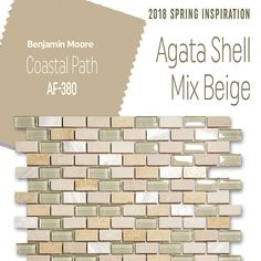 With all the cold weather, here's a little Spring inspiration to warm the soul! What do you think of the color palette? | Agata Shell Mix Beige mosaic glass tile with beautiful mother-of-pearl | shell beige backsplash | neutral kitchen backsplash | kitchen backsplash inspiration | coastal kitchen backsplash | mother-of-pearl backsplash idea