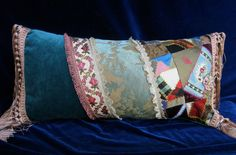 "SALE. Large, Vintage, Boho, Shabby Gypsy Chic Pillow, Velvet Crazy Quilt-Pink Blue Ivory Cream-Brocade French Ribbon- Fringe-24"" Long Wide"