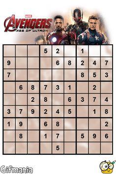 Avengers Age of Ultron Sudoku activity page Avengers Images, Avengers 2, Disney Colors, Age Of Ultron, Marvel, Activities, Superhero, Stars, School