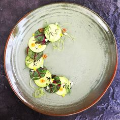 """Avocado, swiss chard, ikura & sunflower seeds • by royalebrat on IG #plating #gastronomy"