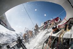 February, 2015. Leg 4 to Auckland onboard Abu Dhabi Ocean Racing. Day 08. Big seas and 20 knots of boatspeed crash into the cockpit as the crew braces for the spray. - Matt Knighton / Abu Dhabi Ocean Racing / Volvo Ocean Race