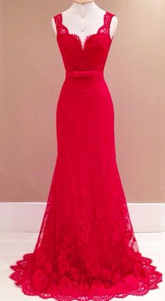 2016 Red Lace Straps Prom Dresses Sweetheart Neck Open Back Long Evening Gowns