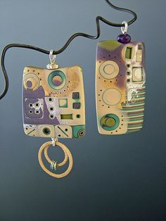 Pendants by Julie Picarello, as seen on The Polymer Arts magazine's blog.  www.thepolymerarts.com