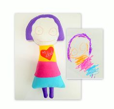 Make a memory gift toy for someone you love. Your little artist could be the designer of this special present. This cute felt soft doll was a dad birthday gift, a memory toy gift to remember after years of his girl childhood. Children use to draw characters according to their personality and their pictures reflects their sensibility. For this reason this toy could be a great personalized gift for kids themselves too, for a mom, for a grandmother, a Christmas gift or a birthday present. Ask…