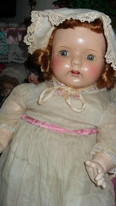 Composition doll large 26 antique baby doll w/antique gown