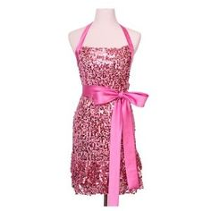 """""""Glamour Girl"""" Pink Sequin Apron by Haute in the Kitchen TM"""