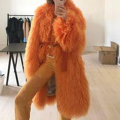 Vintage | Jacket | 70s | Orange | Fur | Style | Fashion ✩ @thehazelvalley