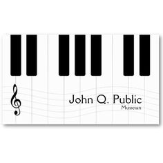 Musician Piano Player Business Card design in black and white. The design is 2 sided and shows only the name and a title on the front. All other details like address, website etc. will be shown on the back side of the card. $19.95 for a pack of 100 business cards.