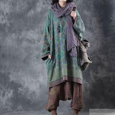 Finom zöld nyomtatás Midi-hosszú pamut ruha és méretű ruhák ruhák butik alacsony magas design o nyak természetes ruha