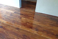 Faux wood painted on concrete. Would be great for a basement! Concrete Floor Ideas | Concrete Floor Finishes | Flooring Tips  Ideas