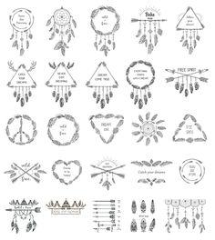 Set: Ethnic Style Designs. Boho Decoration.
