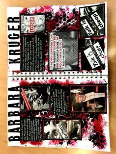Barbara Kruger sketchbook page - A Level Art Sketchbook - art Barbara Kruger level Page sketchbook 613404411734041805 A Level Art Sketchbook Layout, Gcse Art Sketchbook, A Level Textiles Sketchbook, Arte Gcse, Artist Research Page, Photography Sketchbook, Art Alevel, Sketchbook Inspiration, Sketchbook Ideas
