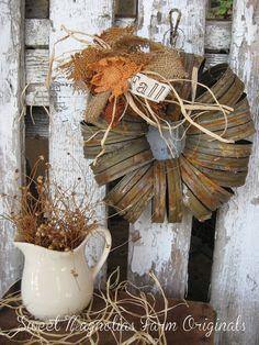 Fall Wreath Canning Jar Lids Rustic by Sweet Magnolias Farm, 26.50