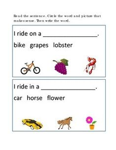 Reading Comprehension #9 Picture Clues Write Circle Word Use Pictures. Great for Emergent Reader, Critical Thinking, Life Skills Worksheet Activities Printable. ELA, Reading Strategies. 1 page. Please check out more fun fantastic bargains: https://www.teacherspayteachers.com/Store/Word-Masters