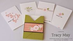 Thank you note cards using Stampin Up! Garden party stamps - Bedlam & Butterflies