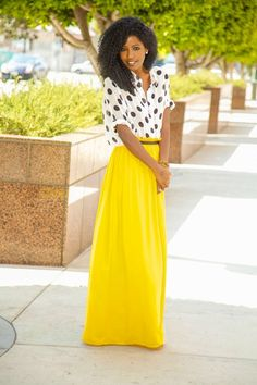 white-and-black-polka-dot-button-down-blouse-yellow-pleated-maxi-skirt-gold-bracelet-large- Style Pantry Modest Fashion, Love Fashion, Womens Fashion, Fashion Tips, Classy Fashion, Trendy Fashion, Fashion Ideas, Looks Style, Style Me