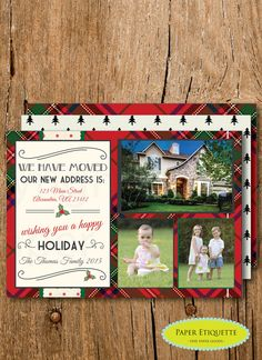 We Have Moved Plaid Happy Holiday Seasons Three by PaperEtiquette
