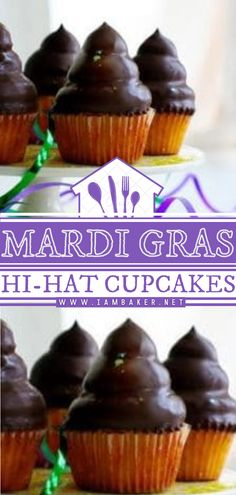 Get festive and make this Mardi Gras dessert recipe! Mardi Gras Hi-Hat Cupcakes start with a delectable yellow cupcake covered in sweet clouds of frosting and gently dipped in chocolate. You can't help but have another bite of this easy Mardi Gras food idea! Pin this. Mardi Gras Desserts, Mardi Gras Food, Sweet Desserts, Easy Desserts, Cup Cakes, Cupcake Cakes, Easy Cake Recipes, Dessert Recipes, Yellow Cupcakes