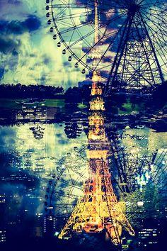 東京タワーと観覧車 Tokyo Tower, Star Sky, Photomontage, Beautiful Places, Scenery, Landscape, Wallpaper, World, Nature