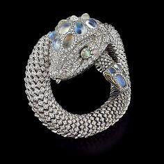 Nicholas Varney Snake Bracelet with Diamonds & MoonstoneCayen Collection