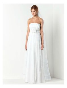 Chiffon Strapless Straight Neckline Column Wedding Dresses with Hand-Made Flower Accents - Bridal Gowns - RainingBlossoms