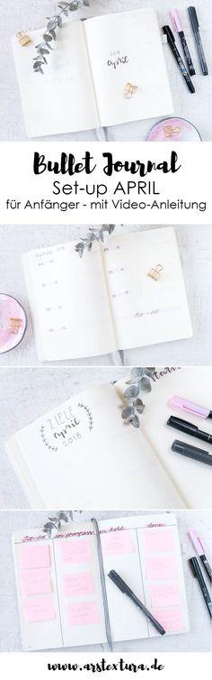 Bullet Journal Ideen für Anfänger auf Deutsch: Im meinem Set-up für April zeige ich dir in meiner Video-Anleitung, wie du ein schlichtes und schnelles Layout für dein Bullet Journal erstellen kannst. Wenn du noch ein kleines Knaben-Board erstellst, kannst du deinen Alltag noch besser organisieren. ars textura - DIY Blog