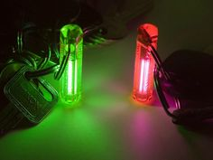 The Nite Glowring Keyring uses a radioactive self powered gas tritium light source, a bit of technology that comes from the military. It comes in multiple colors and the glow lasts for 10 years.