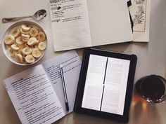 allyouhadtodowasstudy:  19.09.15//Saturday morning set-up. I think I will start using my iPad more for reading articles. Also, a small guest appearance from my bullet journal.