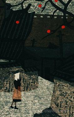 Kiyoshi Saito Japanese Modern, Japanese Prints, Japanese Design, Background Drawing, Japanese Painting, 2d Art, Japan Art, Red Dots, Art Of Living