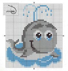 Más Punto de Cruz Cross Stitch Sea, Baby Cross Stitch Patterns, Cross Stitch For Kids, Cross Stitch Cards, Cross Stitch Animals, Cross Stitch Designs, Cross Stitching, Cross Stitch Embroidery, Crochet Diagram