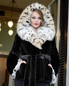 Mink & lynx fur coat