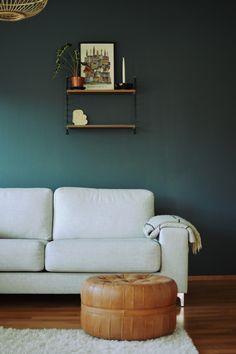 Tikkurila Syvänne, dark green paint shade, scandinavian home decor Paint Shades, Sofa, Couch, Scandinavian Home, Home Remodeling, Lounge, Bedroom, Painting, Wallpapers