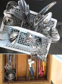 """As you fill the dishwasher's utensil basket over the course of several days, arrange utensils by type as they go in. Have ice cream for a snack after dinner? The spoon goes with the rest of the spoons when you put it in the dishwasher. Grab a knife to make a sandwich? Toss it into the knife compartment of the basket."" - from The Kitchn"