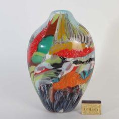 Formschöne Vase Murano Glas Fratelli Pagnin Silber farbig Design Dino Martens