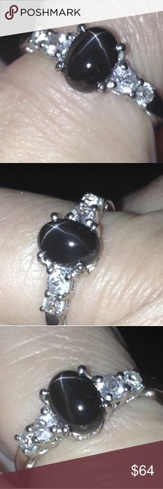"""NWT! Star Diopside Gem+Topaz Ring Sz8 + FREE GIFT Brand New! Tag On!  Size 8  GENUINE 2.3 carat Black """"Star"""" Diopside (India Naturally Mined Gemstone - oval cabochons) + GENUINE White Topaz (fancy faceted rounds) accent this Platinum / .925 fine Sterling Silver (nickel free) Ring .  Bought from USA Based Jewelry Store and  comes in a gift ring box.  🎀🎀Comes with a FREE GIFT - Brand New Mystery thank you gift.🎁👀✔️ manufacturer (usa) Jewelry Rings"""