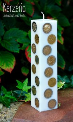 Geldkerze als Hochzeitsgeschenk Weiß von Kerzeria auf DaWanda.com