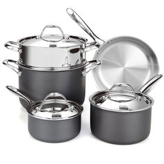 Cooks Standard NC-00390 8-Piece Multi-Ply Clad Hard Anodize Cookware Set *** See this great image  : Cookware Sets