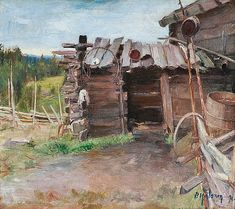 Karjamaja  Teos on maalattu matkalla Itä-Karjalaan jonne Pekka Halonen matkusti yhdessä Akseli Gallen-Kallelan ja Louis Sparren kanssa.