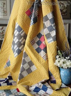 Never Used! PA ANTIQUE c1880 Yellow Calico Background QUILT 72x71""