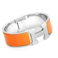 Orange Hermes Clic-Clac H Bracelet Silver With Enamel Color: Orange / Silver  Material: Enamel  Size: Diameter2.4'' Width0.7'' Circumference6.5''  Package: Hermes bracelet box, dust pouch and Hermes card  Shipping: Free Price: $87