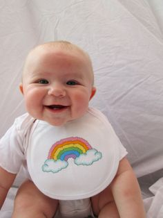 Instant Download: Rainbow with clouds baby bib by TheCompassNeedle