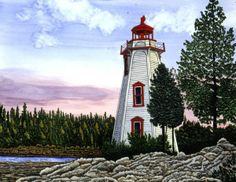 Winter Gallery - Artist Thelma Winter - Tobermory Light - Bruce Penninsula Canada (Powered by CubeCart) Lighthouse Painting, Watercolor Paintings, Painting Art, Winter Art, Light Art, Lighthouses, North America, Coastal, Beautiful Places