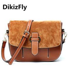 DikizFly Brand famous designer women bag Genuine Leather Vintage Saddle bag womne messenger bags Fashion handbags shoulder bags