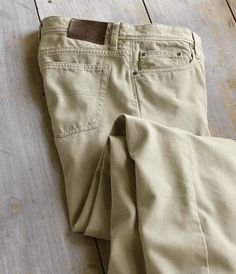 """As comfortable as your favorite jeans, these ruggedly soft men's cotton twill pants fill the gap between denim and khakis. The durable twill construction is garment dyed for a look and feel that says you've already broken them in. Five pocket style; riveted front pockets. Metal shank button front closure. Pure cotton. Washable. Imported. <br /> Even waist sizes 32-42. Inseam 30"""", 32"""", 34""""."""