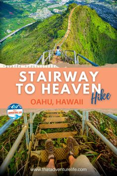 """Moanalua Valley Middle Ridge trail to Haiku Stairs or Stairway to Heaven by That Adventure Life. Directions to Moanalua Valley Middle Ridge, the legal """"back way"""" to get to Haiku Stairs (also called Stairway to Heaven) in Oahu, Hawaii. A wanderlust travellers and hikers paradise view of dreams. A bucket list adventure to include in your list of things to do while in Oahu. Grab your hiking gear, let's go! For all the details, this blog is it! Read now! Hawaii Hikes, Oahu Hawaii, Hawaii Travel, Adventure Bucket List, Life Is An Adventure, Adventure Travel, Dream Dates, Valley Park, Us Travel Destinations"""