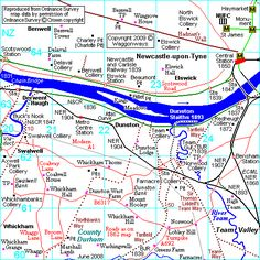 This map shows the route of tanfield waggonway to Dunston staithes on the tyne.
