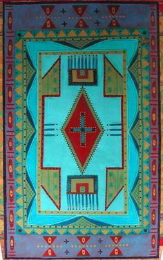 Hand Painted Canvas Floor Cloth  BLACKFEET INDIAN BEAD Design  by floorartetc Painted Floor Cloths, Painted Rug, Hand Painted Canvas, Painted Floors, Canvas Art, Southwestern Rugs, Southwest Art, Native American Crafts, Native American Beading