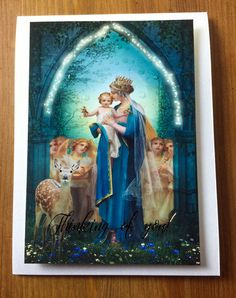 Handmade card gold foil 3D Thinking of you by ThreeArchangels