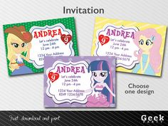 My Little Pony Equestria Girls Party Invitation by GeekParty, $5.99