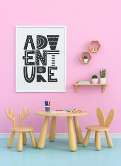 Adventure Typography Playroom Printable Download by KNS Digital Nursery Themes, Nursery Prints, Nursery Decor, Playroom Decor, Wall Decor, Tribal Nursery, Blank Photo, Handmade Home, Handmade Market